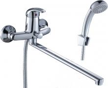 Смеситель д/ванны с плоским излив. 350мм,дивертор с керам пластин.D40-32  Rossinka  9727 0