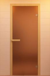 Дверь стеклянная (стекло бронза матовая 6мм,2 петли,коробка хвоя) 1900*700  10767 0