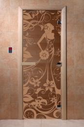 Дверь стеклянная Девушка в цветах(стекло бронза 6мм,2 петли,коробка хвоя) 1900*700  10768 0