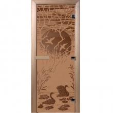 Дверь стеклянная Лебединное озеро (стекло бронза матовая 6мм,2 пет,коробка хвоя) 1900*700  10769 0